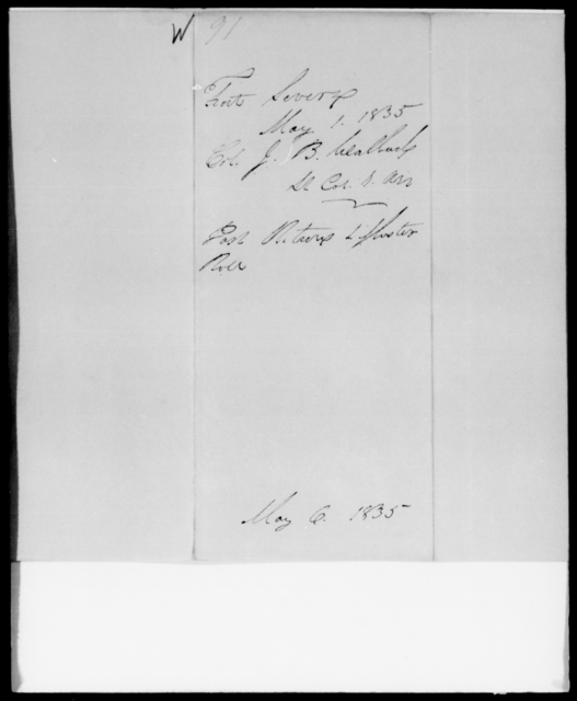 Walback, J B - State: [Blank] - Year: 1835 - File Number: W91