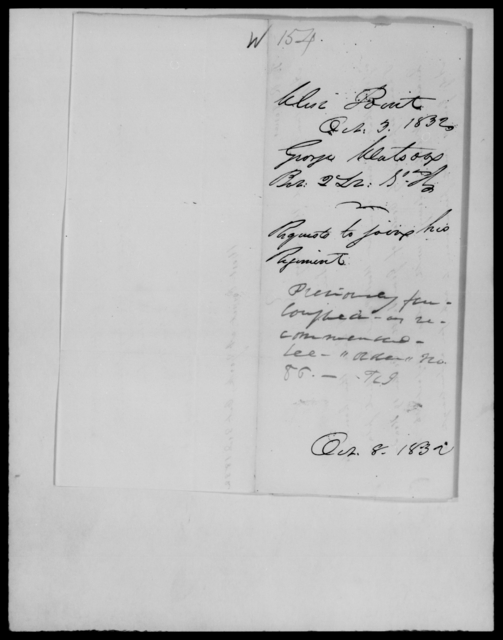 Watson, George - State: [Blank] - Year: 1832 - File Number: W154