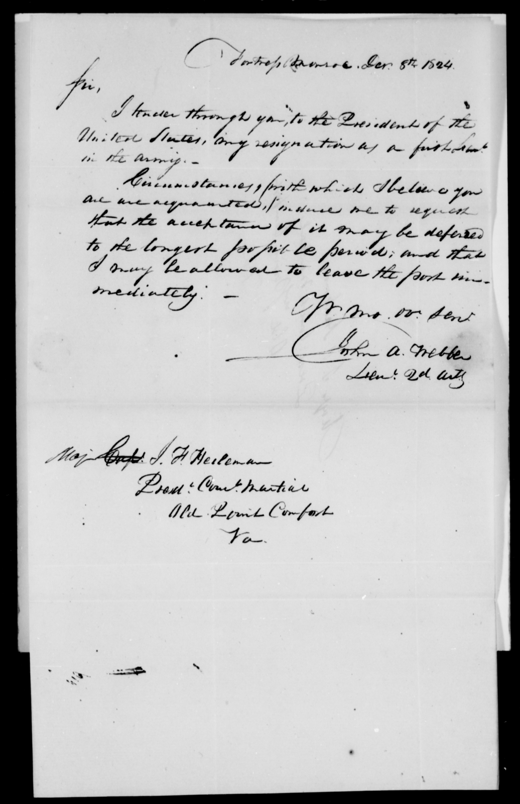 Webber, John A - State: [Blank] - Year: 1824 - File Number: W104