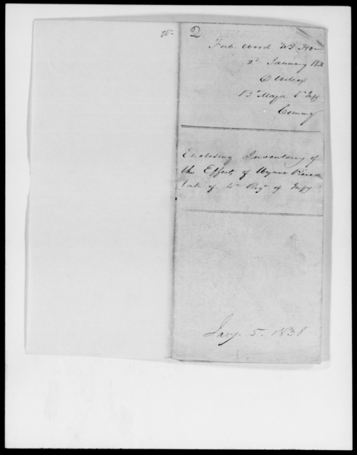Wilcox, D - State: Florida - Year: 1838 - File Number: W2