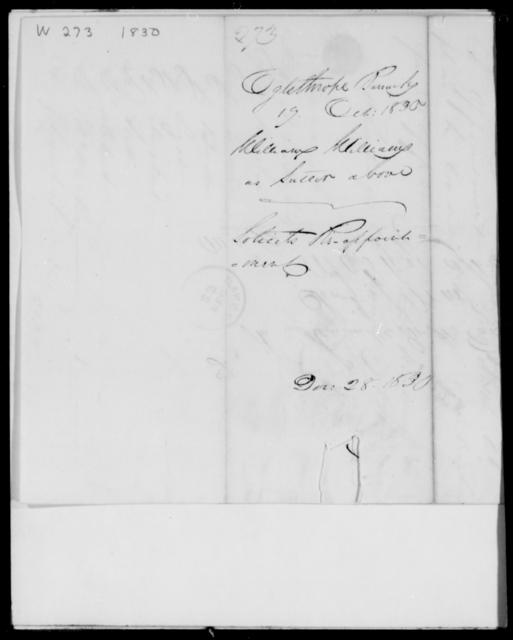 Williams, William - State: [Blank] - Year: 1830 - File Number: W279