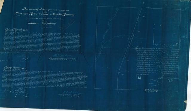 Plat Showing Station Grounds Required by the Chicago, Rock-Island and Pacific Railway in the N.E. 1/4, N. W, 1/4  and S.W. 1/4, Section 34, TP. 6N., R 7W. In Indian Territory[2 copies]