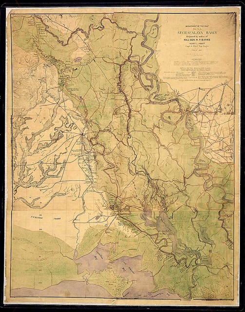 Atchafalaya Basin. Prepared by order of Maj. Gen. N. P. Banks. Henry L. Abbot, Capt. & Chief Top. Eng'rs., Feb. 8th, 1863 [with annotations pertaining to the campaign in April and May 1863].