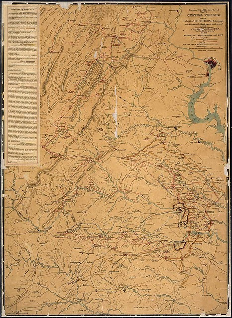 Central Virginia showing Maj. Gen'l. P. H. Sheridan's Campaigns and Marches of the Cavalry under his Command in 1864-65, drawn and lithographed under direction of Brvt. Maj. G. L. Gillespie, U.S.A., Chief Eng., Mil. Div. of the Gulf, Oct. 1865. Authorities--Engineer Bureau, War Dept.