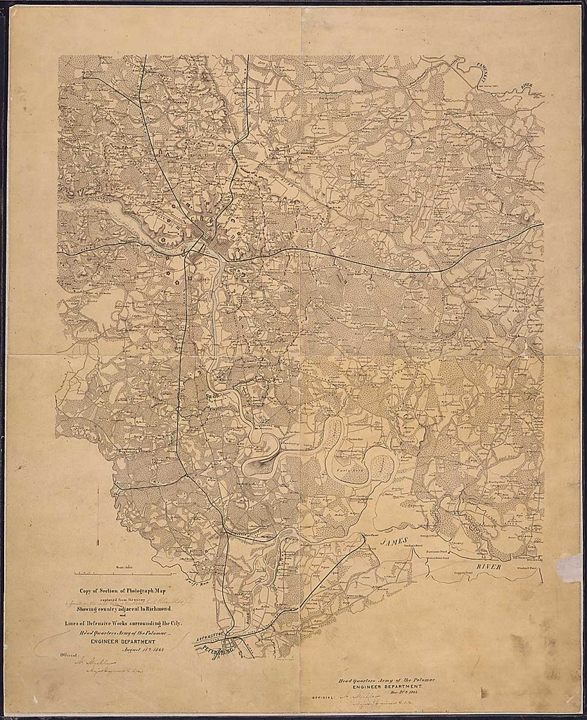 Copy of Section of Photograph Map captured from the enemy Showing country adjacent to Richmond and Lines of Defensive Works surrounding the City. Headquarters, Army of the Potomac, Engineer Department, August 18th, 1864, [and one part dated] Dec. 20th, 1864.