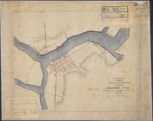 Diagram showing the Position of Our Works at and about Brashear City, from Surveys and Notes by Maj. A. Elfield and Capt. H. L. Wheeler with additions by B. Von Reizenstein, del.