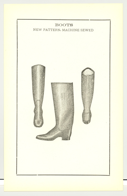 Drawing of Boots, New Pattern, Machine Sewed