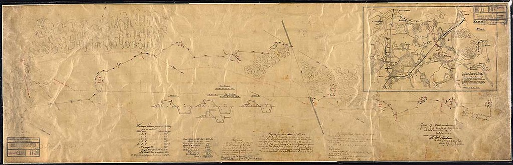 Lines of Entrenchment for defence of Camps at City Point, Va., as laid out and constructed October 1864 under direction of [signed] H. W. Benham, Lt. Col. of Engrs. & Brig. Genl. Comd'g. Defences of City Point. [Map and profiles.]