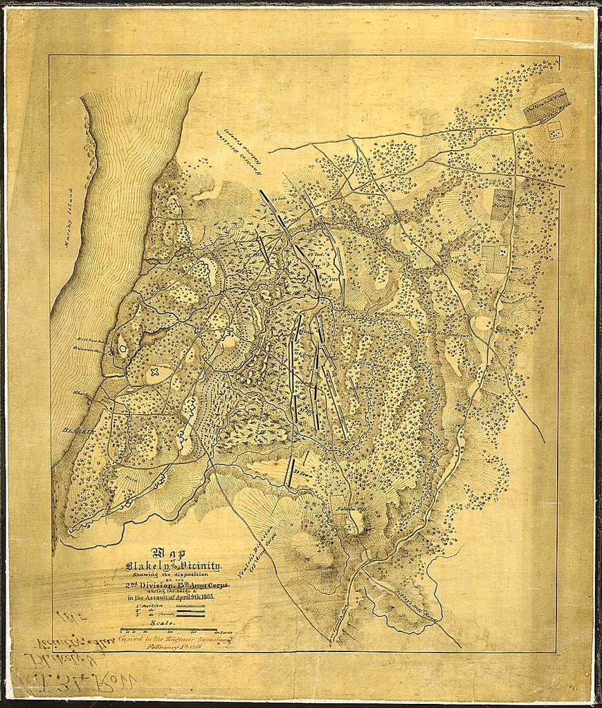 Map of Blakely and Vicinity. Showing the disposition of the 2nd Division, 13th Army Corps, during the siege & and in the Assault of April 9th, 1865. Copied in the Engineer Department, February 5th, 1866.