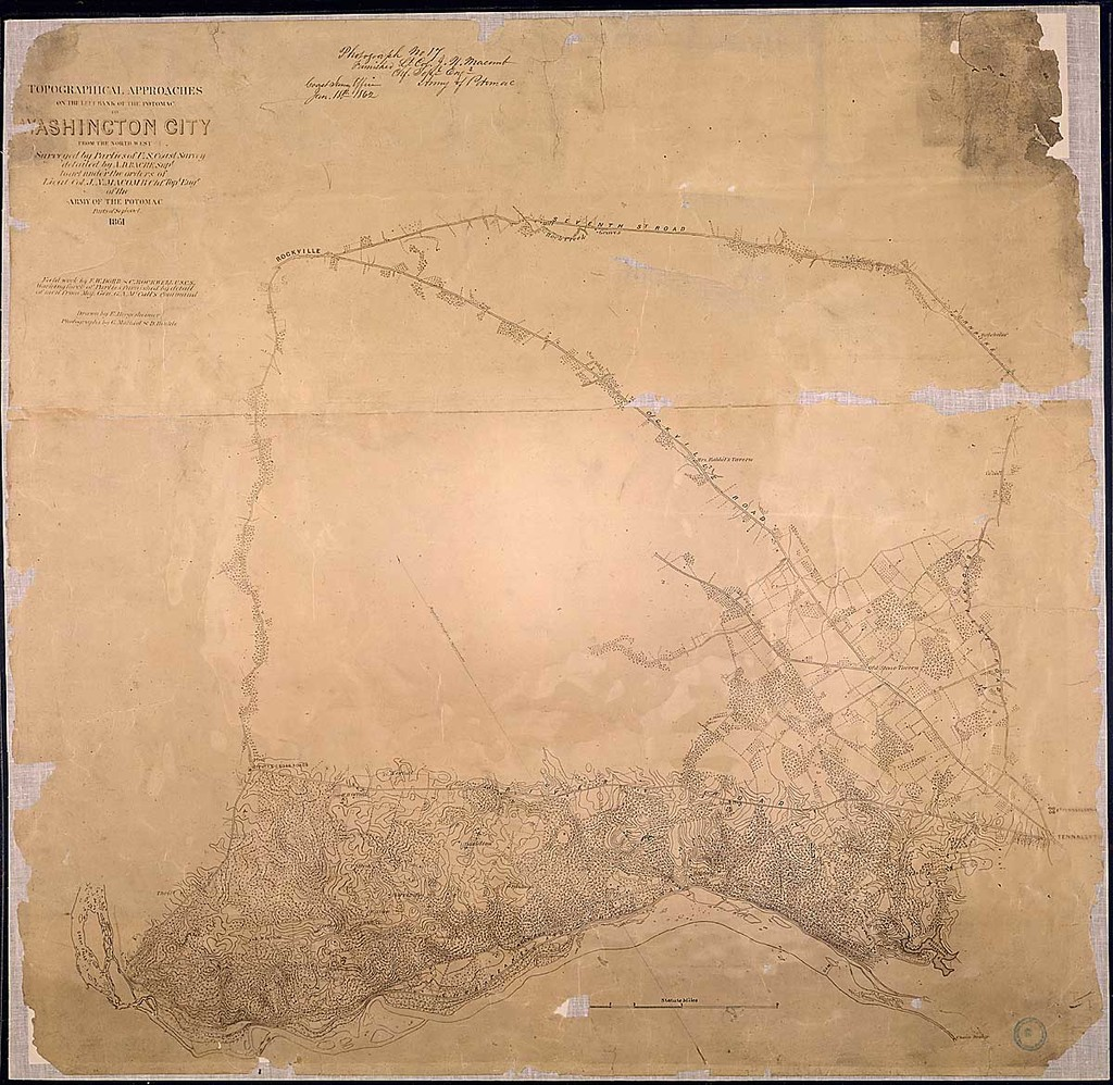 [Map of part of Montgomery County showing] Topographical Approaches on the Left Bank of the Potomac to Washington City from the North West. Surveyed by Parties of U. S. Coast Survey detailed by A. D. Bache, Supt., to act under the orders of Lieut. Col. J. N. Macomb, Chf. Topl. Engr. of the Army of the Potomac. Parts of Sept. & Oct. 1861. Field work by F. W. Dorr & C. Rockwell, U.S.C.S. ...Drawn by E. Hergesheimer. Photographs by G. Mathiot and D. Hinkle.
