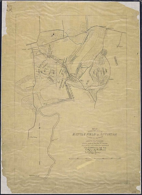 Map of that portion of the Battle Field of Antietam occupied by the troops under Maj. Gen. Burnside, made by order of Maj. Gen. McClellan from surveys made under the supervision of Capt. R. S. Williamson, Top'l. Eng'r., on Staff of Maj. Gen. Burnside, by H. C. Fillebrown [and] E. S. Waters, Civ. Eng'rs.