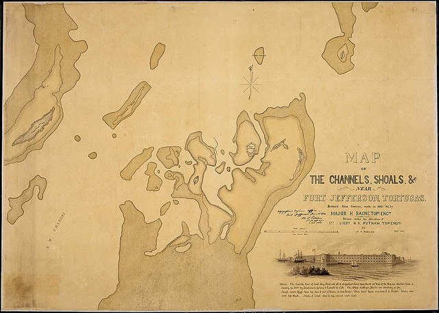 Map of the Channels, Shoals, &c. near Fort Jefferson, Tortugas. Reduced from Surveys made in 1845-46 by Major H. Bache, Topl. Engrs. Drawn under the direction of 1st Lieut. H. S. Putnam, Topl. Engrs., by H. G. Webber, C. E., May 1862.