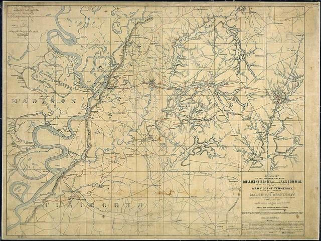Map of the Country Between Millikens Bend La., and Jackson, Miss., shewing the Routes followed by the Army of the Tennessee Under the Command of Maj. Genl. U. S. Grant, U. S. Vls., in Their March from Millikens Bd. to Rear of Vicksburg in April and May 1863, compiled, surveyed, and drawn under the direction of Lt. Col. Js. H. Wilson, A. I. Genl. & 1st Lt., Engrs.