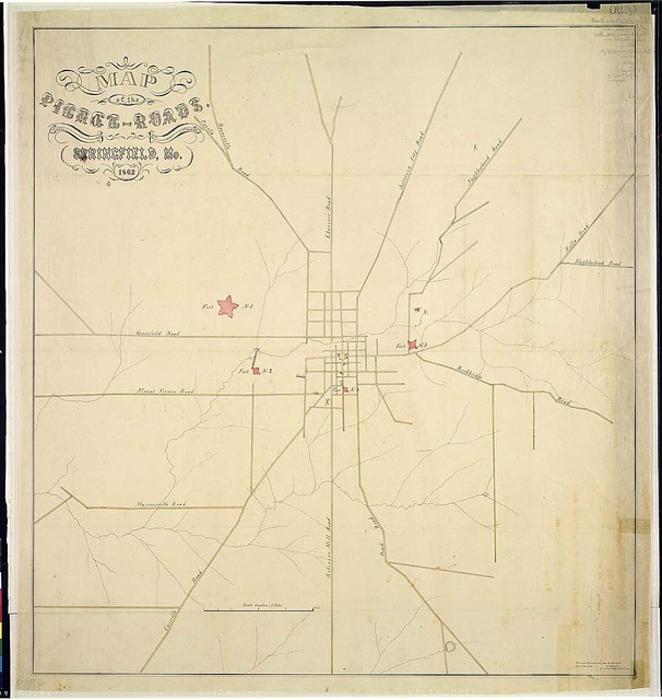 Map of the Picket-Roads, Springfield, Mo., 1862. Surveyed & Platted, October 1862, Springfield, Mo. Copied April 1863. C. F. Eichacker, Lieut. & Eng. in charge of Fortifications.