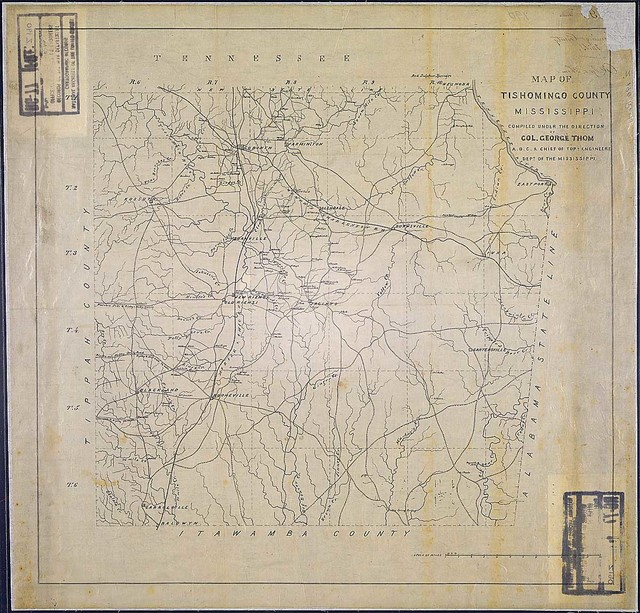 Map of Tishomingo County, Mississippi. Compiled under the Direction of Col. George Thom, A.D.C. & Chief of Topl. Engineers, Dept. of the Mississippi.