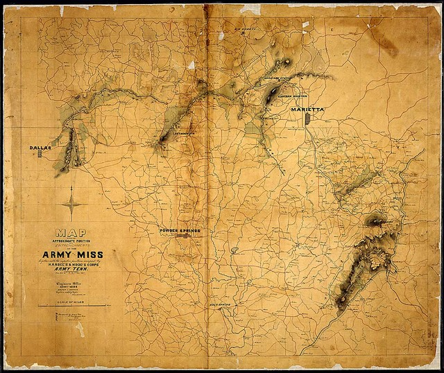 Map showing Approximate Position and Entrenchments of the Army of Miss. [along the Chattahoochee and in the vicinities of Marietta and Dallas and Kennesaw and Lost Mountains] Together with the respective positions occupied by Hardee's & Hood's Corps, Army Tenn., From May 25th to the 9th July 1864. Engineers Office, Army of Miss. Walter J. Morris, Captain, actg. Chief Eng'r. Fred. G. Gutherz, Del.
