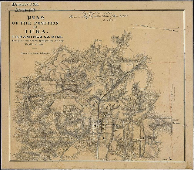 Plan of the Position at Iuka, Tishamingo Co., Miss. Surveyed & drawn by Ch. Spangenberg, Assistant Engr., Septbr. 8th, 1862.