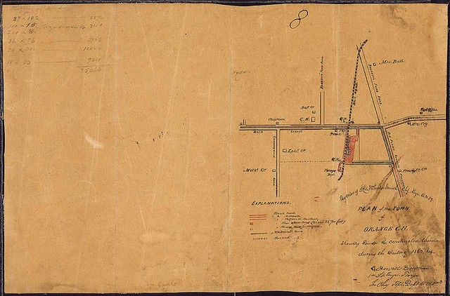Plan of the Town of Orange C. H. Showing Roads &c. constructed therein during the winter of 1863, '64. [Compiled] By order of Lt. Col. Wm. Proctor Smith, Chf. Engr., A[rmy]. N[orthern]. Va., [Confederate].