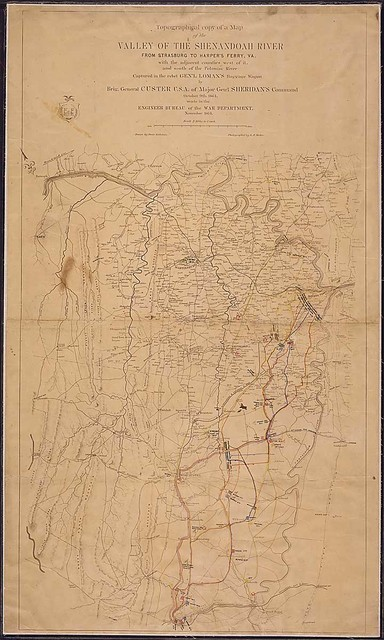 Topographical copy of a Map of the Valley of the Shenandoah River From Strasburg, [Va.], to Harper's Ferry. [W.] Va., with the adjacent counties west of it and south of the Potomac River