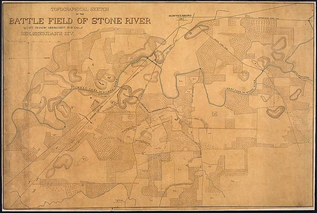 Topographical Sketch of the Battle Field of Stone [sic] River by Capt. Francis Mohrhardt, Top. Eng. of Gen. Sheridan's Div.