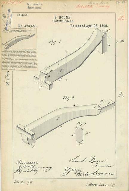 Patent Drawing for S. Boone's Ironing Board