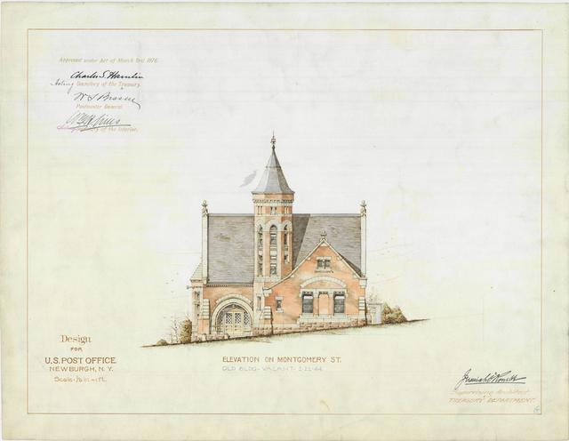 Presentation Drawing of the Newburgh NY Post Office
