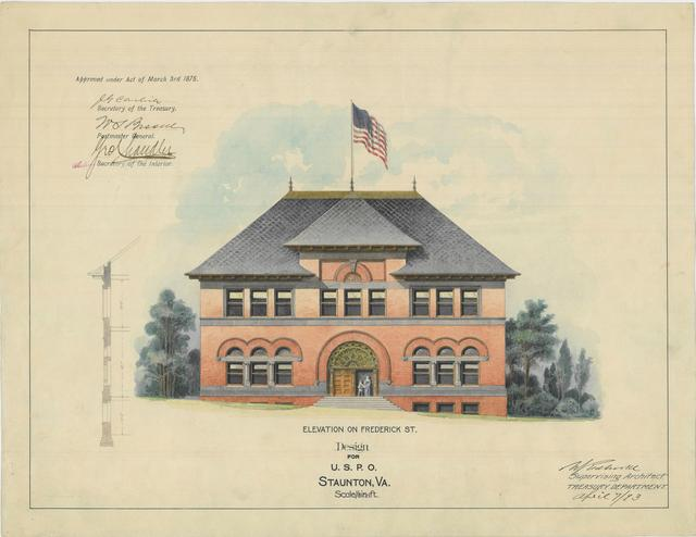 Presentation Drawing of the Staunton VA Post Office