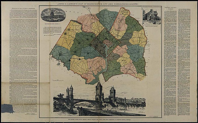 Map of Washington D.C. and surrounding country and description of land adjacent to Washington