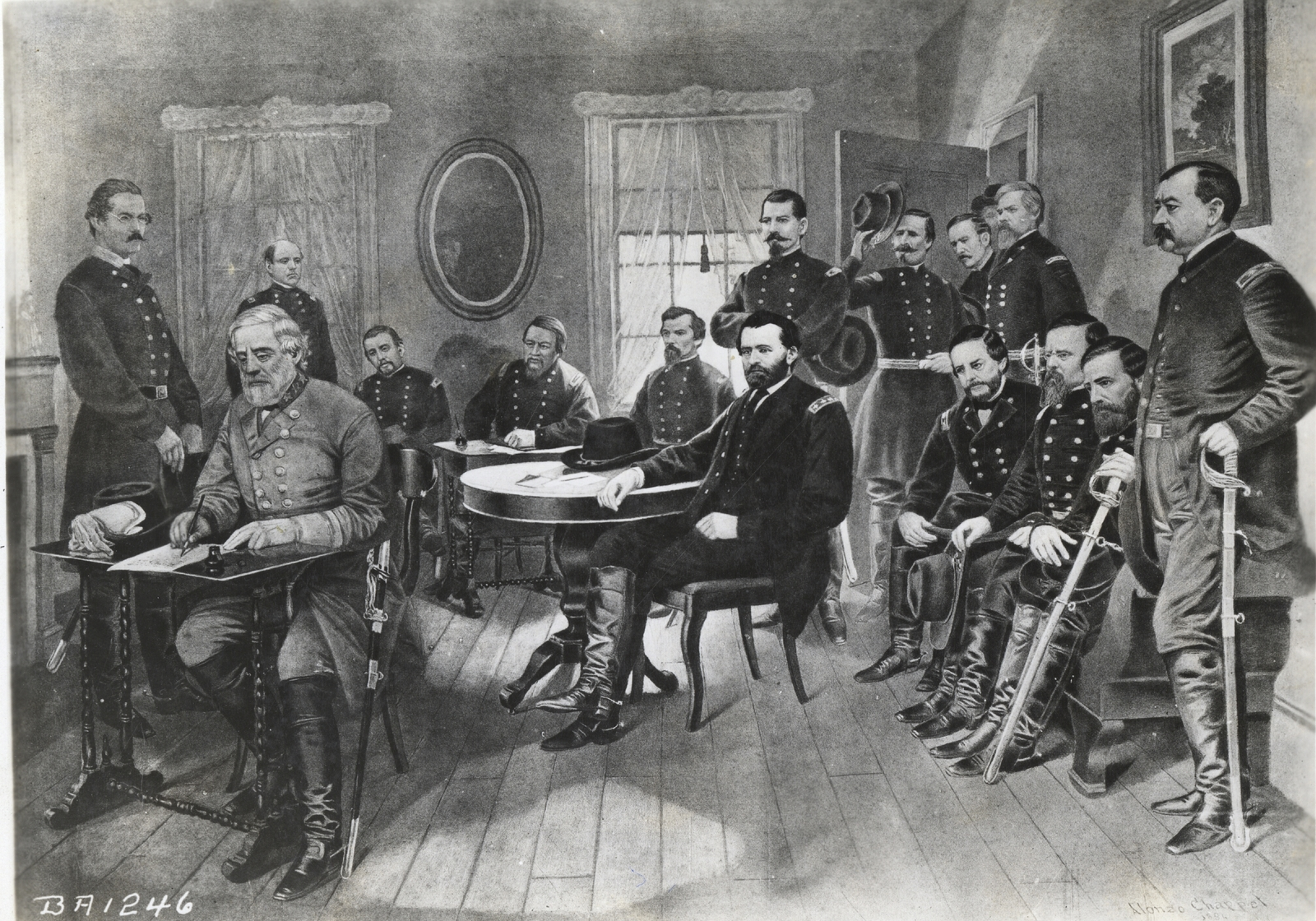 Photographic Reproduction of a Painting of General Robert E. Lee Signing the Surrender of the Confederate Armies to General Ulysses S. Grant at the McLean House, Appomattox, Virginia