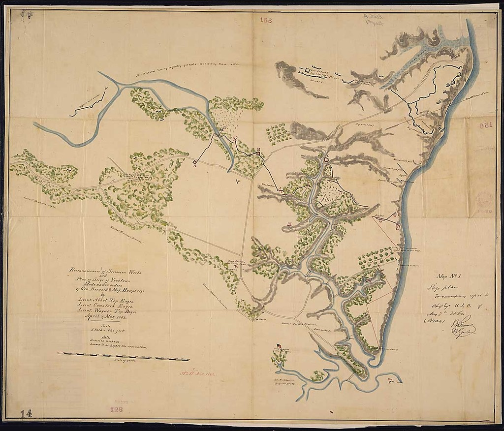 reconnaissance of secession works and plan of seige of yorktown made