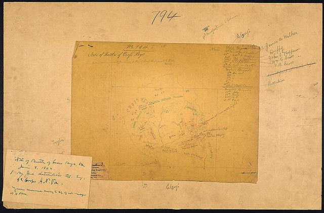 [Rough sketch of the battlefield of Cross Keys, Va., June 8, 1862, compiled by Jed. Hotchkiss, 2d Army Corps, Confederate Army of Northern Virginia.]