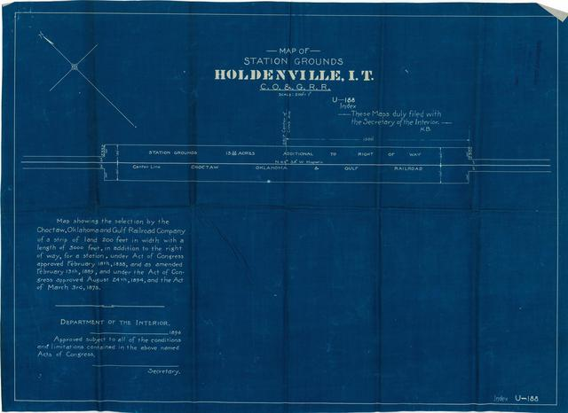 Map of Station Grounds, Holdenville, Indian Territory, Choctaw Oklahoma and Gulf Railroad