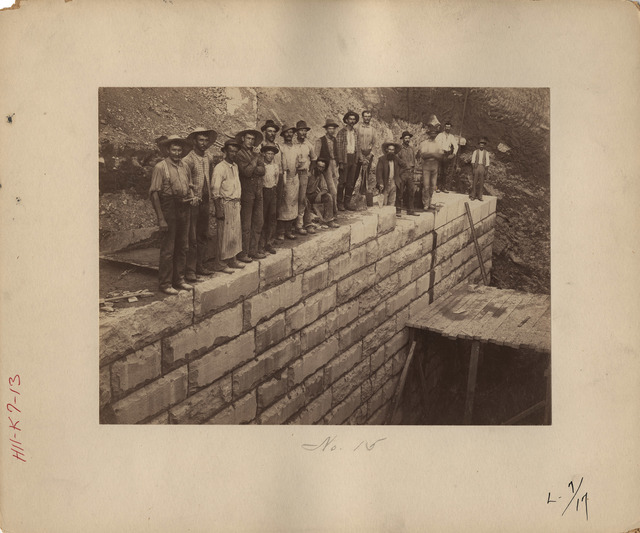 Workers Standing on Nearly Completed Abutment at Lock Number Seven on the Kentucky River