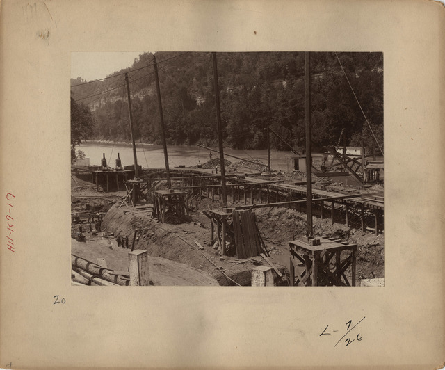 Cofferdam at Lock Number Seven Looking South on the Kentucky River