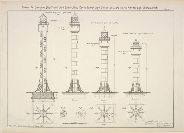 Elevations, Plans, and Sections of Towers at Sturgeon Bay Canal Light Station, Wisconsin
