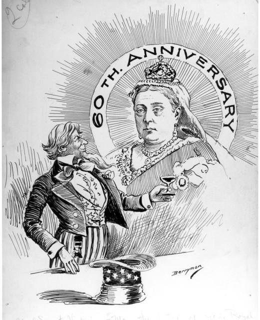 "Uncle Sam's Greeting: ""May the future of Your Majesty be as full of prosperity as mine promises to be."""