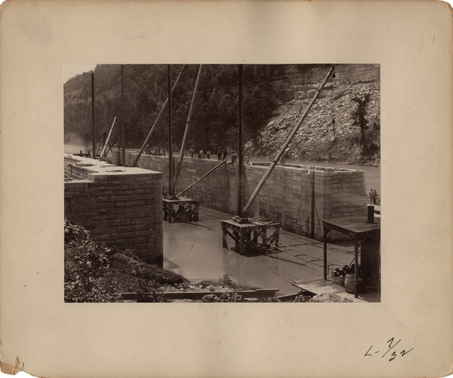 Looking Upstream at the River Wall on the Kentucky River at Lock Number Seven
