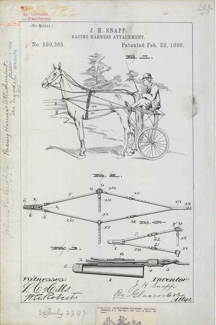 Patent Drawing for J. H. Snapp's Racing Harness Attachment