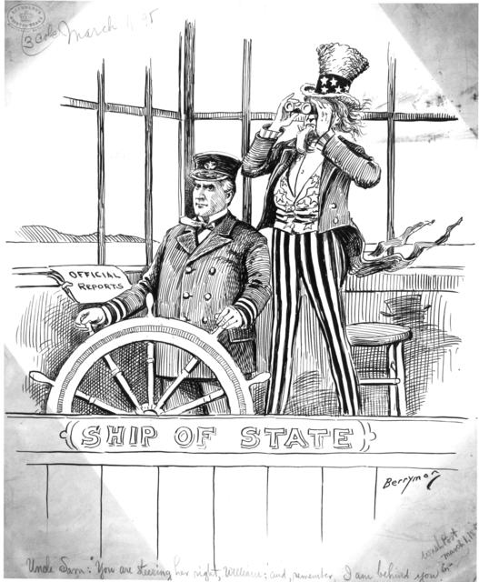 """Uncle Sam : """"You are steering her right, William; and, remember , I am behind you."""""""