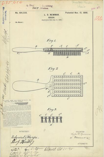 Patent Drawing for L. D. Newman's Brush