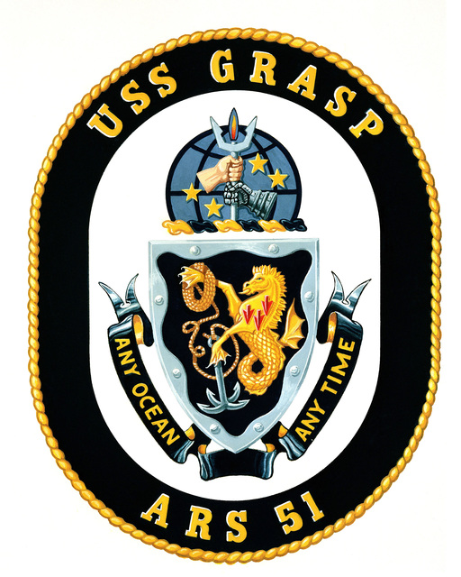 Coat of Arms for the USS Grasp (ARS-51). OFFICIAL U.S. ARMY PHOTO (RELEASED)
