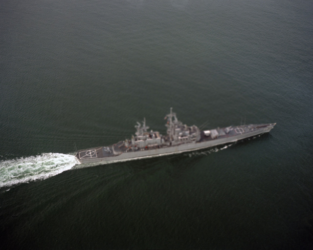 PH2 Ambroseno Hampton Roads....An aerial starboard view of the nuclear-powered guided missile cruiser USS Bainbridge (CGN-25) transiting Thimble Shoals Channel while en route to Naval Station, Norfolk, Va. OFFICIAL U.S. NAVY PHOTO (RELEASED)