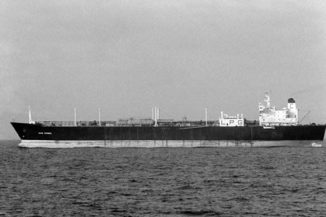 PH2 G.L. Pixler Persian Gulf....A port beam view of the Kuwaiti super tanker Gas Prince at anchor. OFFICIAL U.S. NAVY PHOTO (RELEASED)