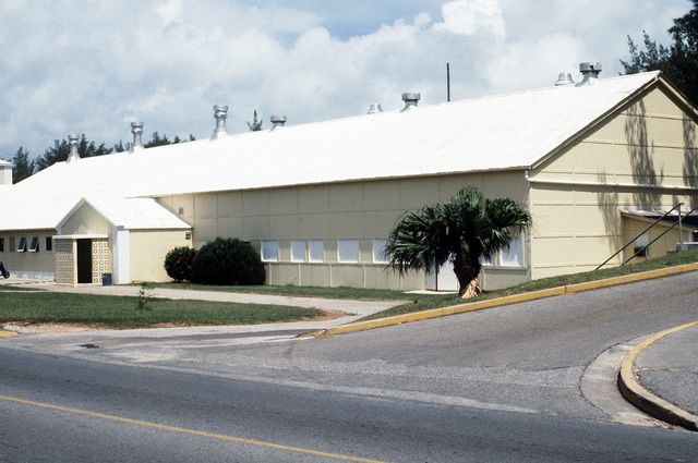 PH2 Joy Clark Naval Air Station, Bermuda....An exterior view of the gymnasium. OFFICIAL U.S. NAVY PHOTO (RELEASED)