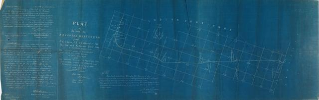 Plat of Survey for Arkansas Western Railroad from Heavener, Indian Territory Eastward to the Choctaw and Arkansas State Line