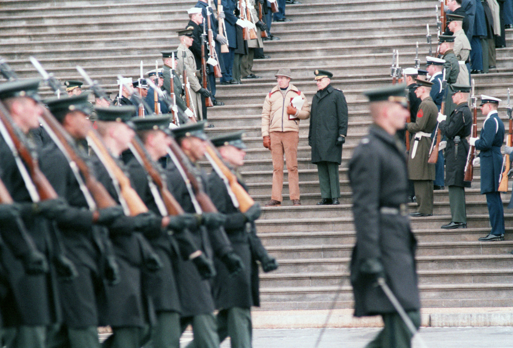 SPEC. 5 Bert Goulait Washington, D.C....Combined military ceremonial and guard units line the proposed procession route up the steps of the Capitol during the Presidential Inaugural Parade rehearsal. OFFICIAL U.S. ARMY PHOTO (RELEASED)