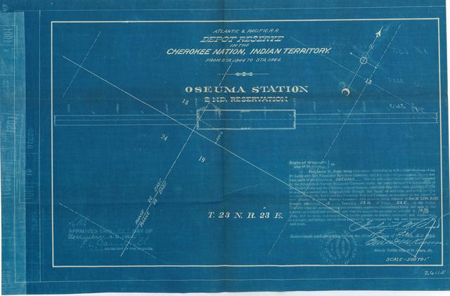 Atlantic and Pacific Railroad, Depot Reserve in Cherokee Nation, Indian Territory, Oseuma Station, 2nd Reservation, Approved