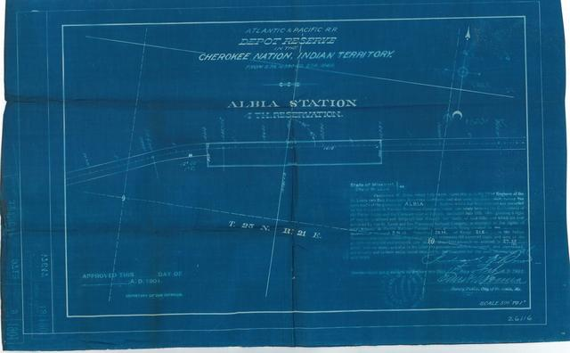 Atlantic and Pacific Railroad, Depot Reserve in Cherokee Nation, Indian Territory, Albia Station, 4th Reservation, Not Approved[3 copies]