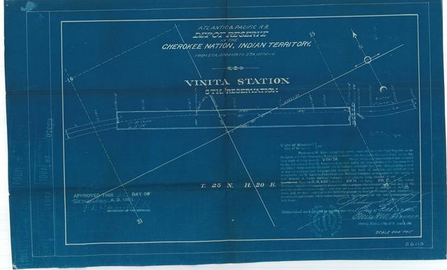 Atlantic and Pacific Railroad, Depot Reserve in Cherokee Nation, Indian Territory, Vinita Station, 5th Reservation, Approved [3 copies]