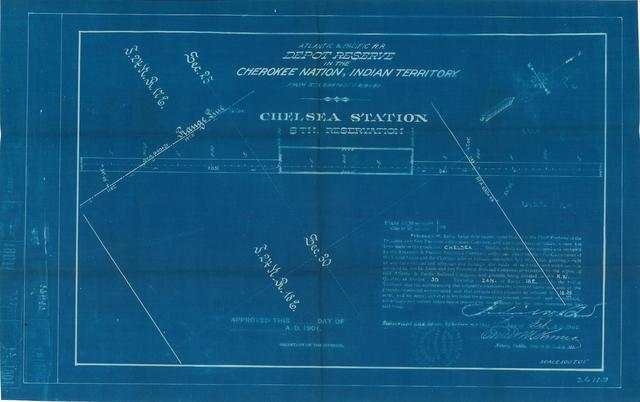 Atlantic and Pacific Railroad, Depot Reserve in Cherokee Nation, Indian Territory, Chelsea Station, 8th Reservation, Not Approved